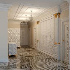 Дизайн интерьера с мраморным полом из мозаичных розеток