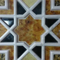 3д Мраморная плитка с интарсией янтаря